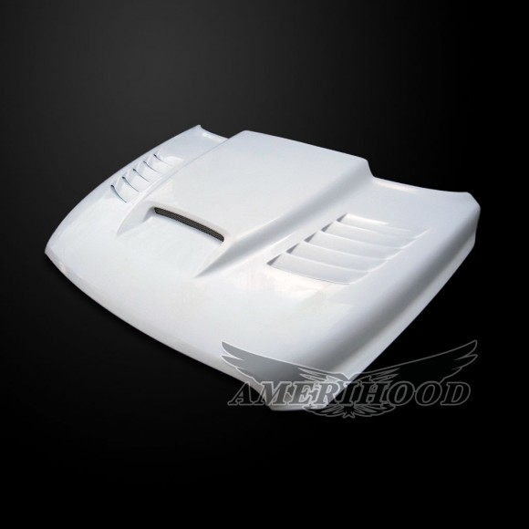 Dodge Ram 1500 2009-2014 Type-SSK Style Functional Ram Air Hood - Front 1/4 View