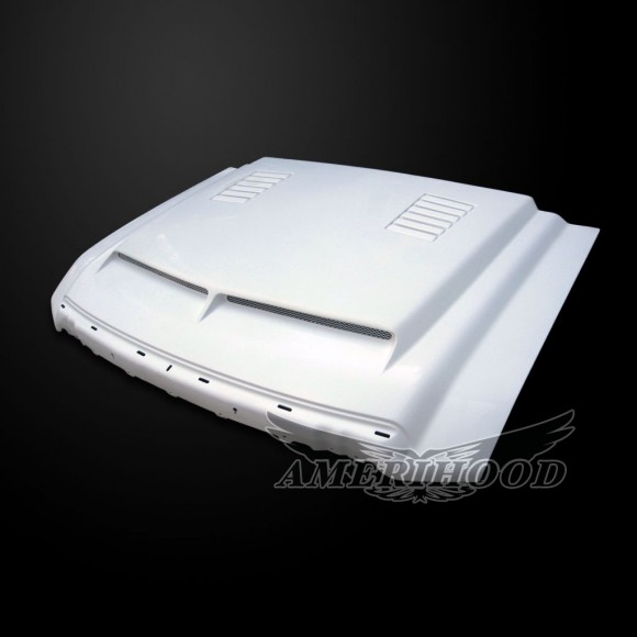 Ford F-350 2009-2010 Type-E Style Functional Heat Extraction Ram Air Hood - Front 1/4 View