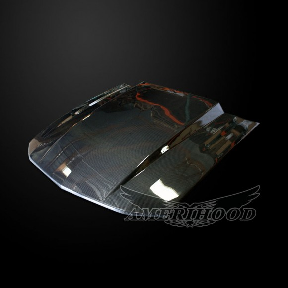 Ford Mustang 2005-2009 Type-Cowl Style(3 Inch) Functional Heat Extraction Carbon Fiber Hood - Front 1/4 View