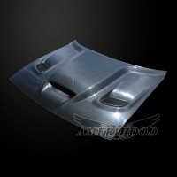 Dodge Challenger 2008-2020 Type-HC Style Carbon Fiber With Heat Extractor Vents Hood