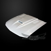 Ford Mustang 2005-2009 Type-SMS Style Functional Heat Extraction Ram Air Hood - Front 1/4 View
