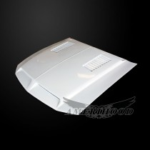 Ford Mustang 2005-2009 Type-E Style Functional Heat Extraction Ram Air Hood - Front 1/4 View