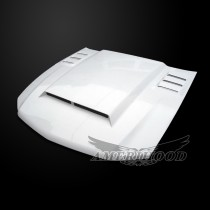 Ford Mustang 2010-2012 Type-ROU Style Functional Heat Extraction Ram Air Hood - Front View