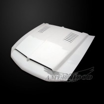 Ford Mustang 2010-2012 Type-E Style Functional Heat Extraction Ram Air Hood - Front 1/4 View