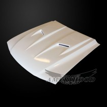 Ford Mustang 1994-1998 Type-3 Style Functional Heat Extraction Ram Air Hood - Front 1/4 View