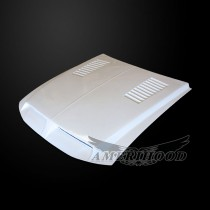 Ford Mustang 1999-2004 Type-E Style Functional Heat Extraction Ram Air Hood - Front 1/4 View
